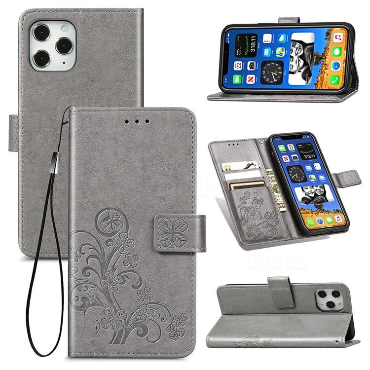 Embossing Imprint Four-Leaf Clover Leather Wallet Case for iPhone 12 / 12 Pro (6.1 inch) - Grey