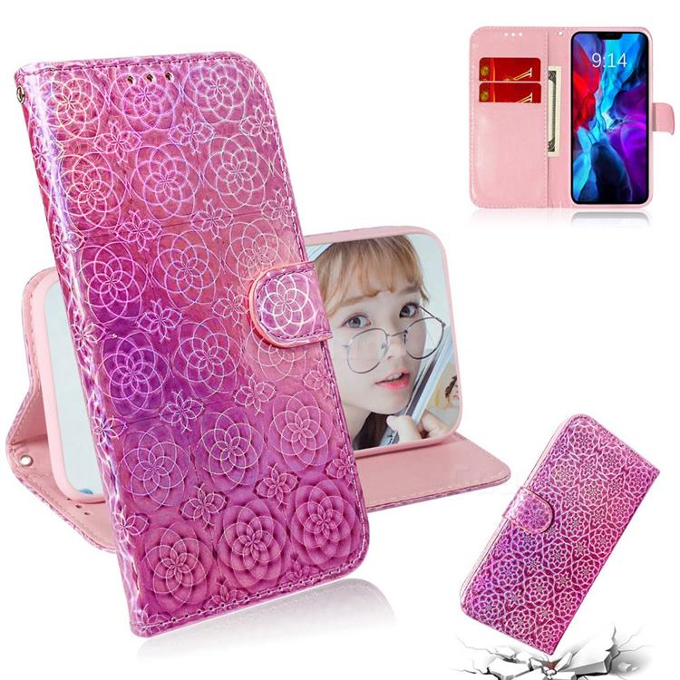 Laser Circle Shining Leather Wallet Phone Case for iPhone 12 / 12 Pro (6.1 inch) - Pink