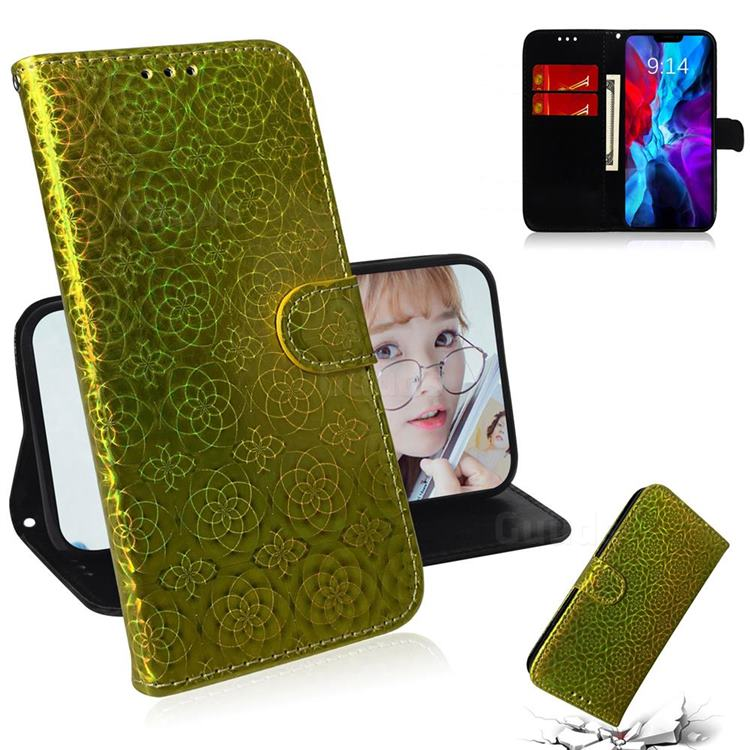 Laser Circle Shining Leather Wallet Phone Case for iPhone 12 / 12 Pro (6.1 inch) - Golden
