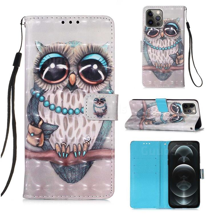 Sweet Gray Owl 3D Painted Leather Wallet Case for iPhone 12 / 12 Pro (6.1 inch)