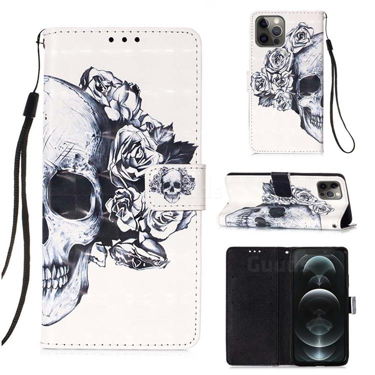 Skull Flower 3D Painted Leather Wallet Case for iPhone 12 / 12 Pro (6.1 inch)