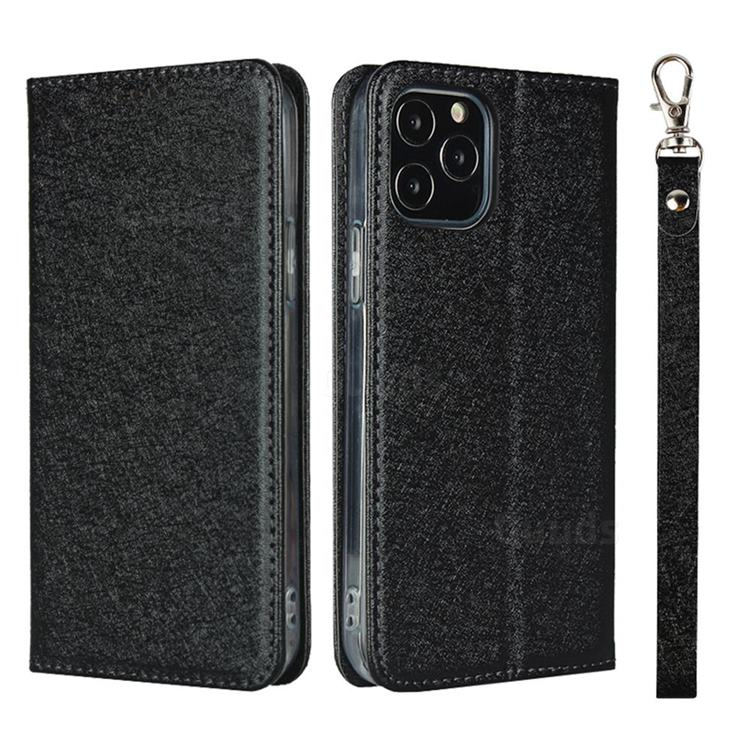 Ultra Slim Magnetic Automatic Suction Silk Lanyard Leather Flip Cover for iPhone 12 / 12 Pro (6.1 inch) - Black