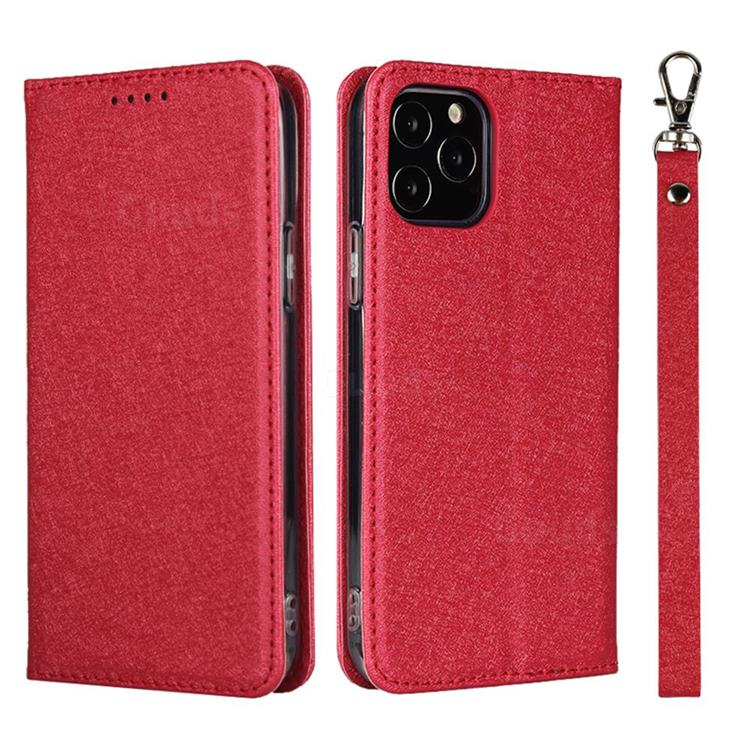 Ultra Slim Magnetic Automatic Suction Silk Lanyard Leather Flip Cover for iPhone 12 / 12 Pro (6.1 inch) - Red