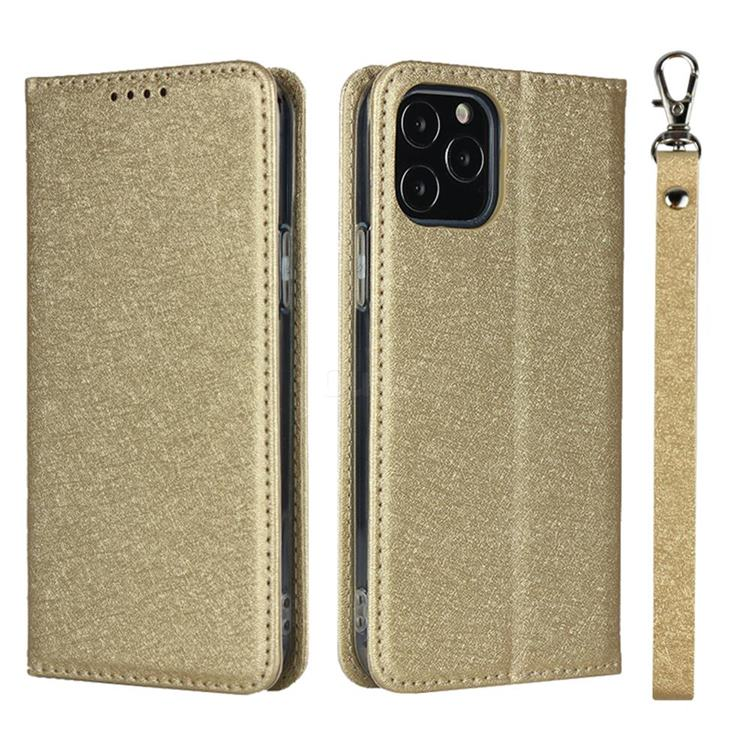 Ultra Slim Magnetic Automatic Suction Silk Lanyard Leather Flip Cover for iPhone 12 / 12 Pro (6.1 inch) - Golden