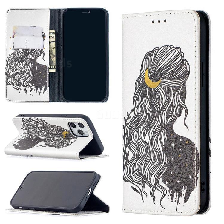 Girl with Long Hair Slim Magnetic Attraction Wallet Flip Cover for iPhone 12 / 12 Pro (6.1 inch)