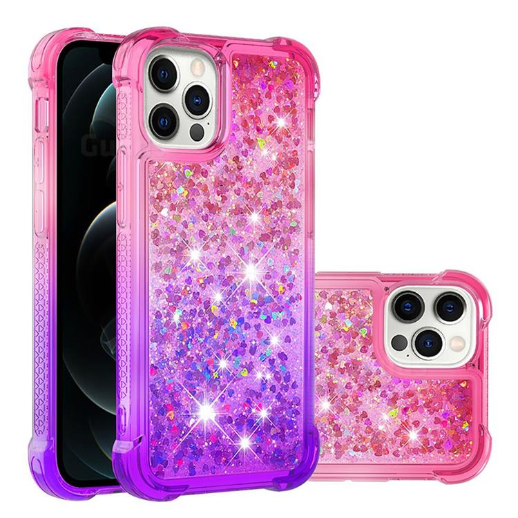 Rainbow Gradient Liquid Glitter Quicksand Sequins Phone Case for iPhone 12 / 12 Pro (6.1 inch) - Pink Purple