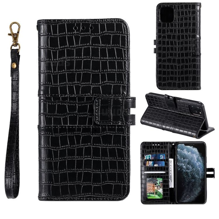 Luxury Crocodile Magnetic Leather Wallet Phone Case for iPhone 12 / 12 Pro (6.1 inch) - Black