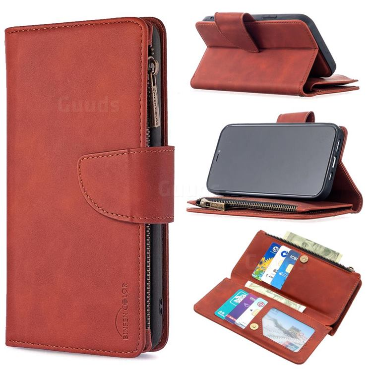 Binfen Color BF02 Sensory Buckle Zipper Multifunction Leather Phone Wallet for iPhone 12 / 12 Pro (6.1 inch) - Brown