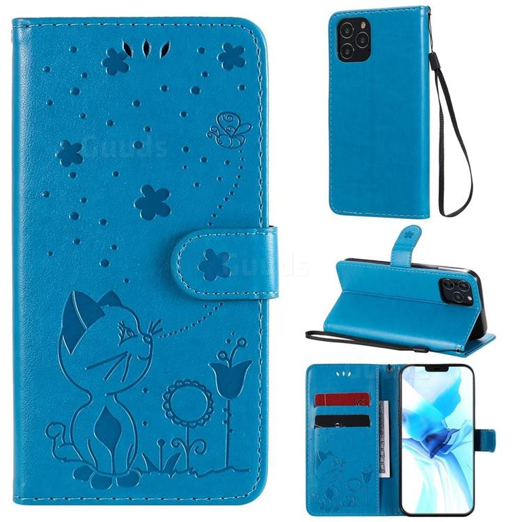 Embossing Bee and Cat Leather Wallet Case for iPhone 12 / 12 Pro (6.1 inch) - Blue