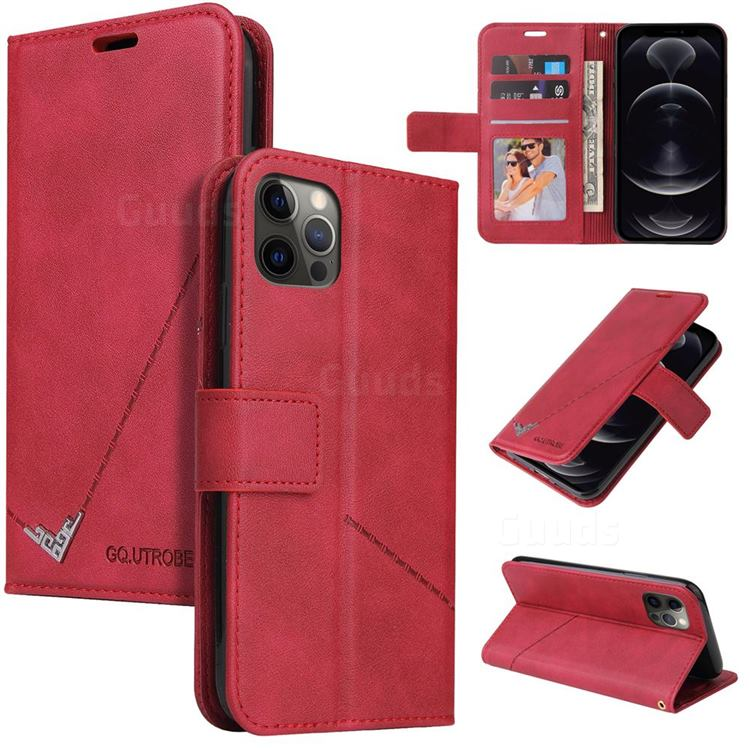 GQ.UTROBE Right Angle Silver Pendant Leather Wallet Phone Case for iPhone 12 / 12 Pro (6.1 inch) - Red