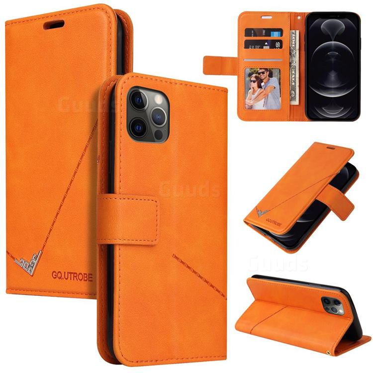 GQ.UTROBE Right Angle Silver Pendant Leather Wallet Phone Case for iPhone 12 / 12 Pro (6.1 inch) - Orange