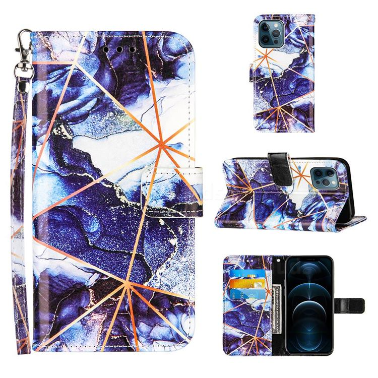 Starry Blue Stitching Color Marble Leather Wallet Case for iPhone 12 / 12 Pro (6.1 inch)