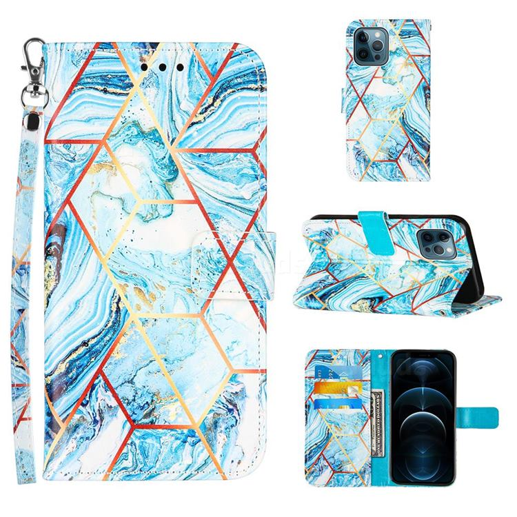 Lake Blue Stitching Color Marble Leather Wallet Case for iPhone 12 / 12 Pro (6.1 inch)