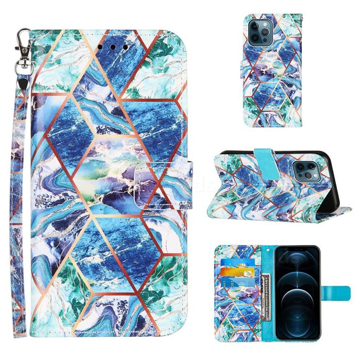 Green and Blue Stitching Color Marble Leather Wallet Case for iPhone 12 / 12 Pro (6.1 inch)