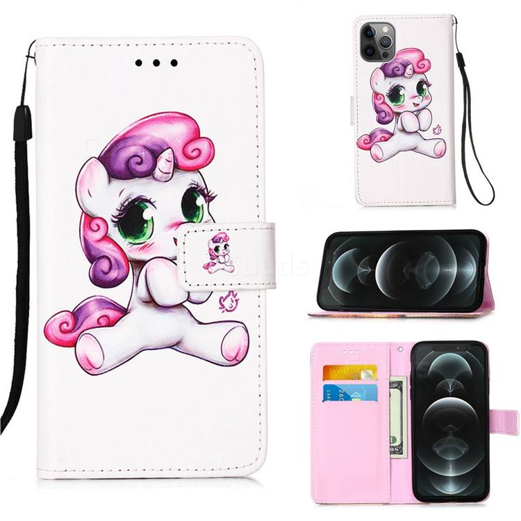 Playful Pony Matte Leather Wallet Phone Case for iPhone 12 / 12 Pro (6.1 inch)