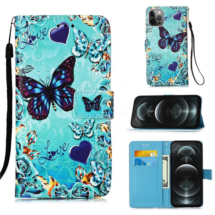Love Butterfly Matte Leather Wallet Phone Case for iPhone 12 / 12 Pro (6.1 inch)