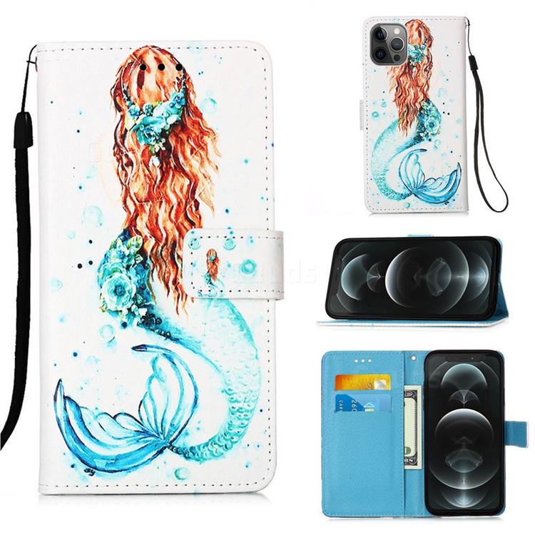 Mermaid Matte Leather Wallet Phone Case for iPhone 12 / 12 Pro (6.1 inch)