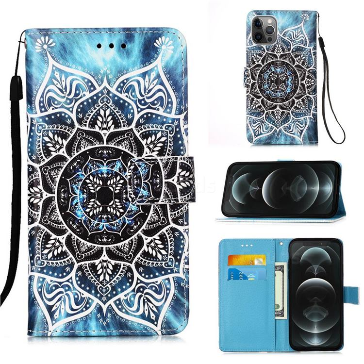 Underwater Mandala Matte Leather Wallet Phone Case for iPhone 12 / 12 Pro (6.1 inch)