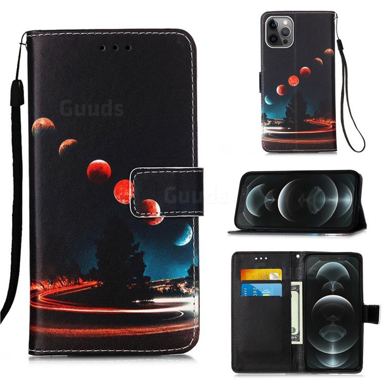 Wandering Earth Matte Leather Wallet Phone Case for iPhone 12 / 12 Pro (6.1 inch)