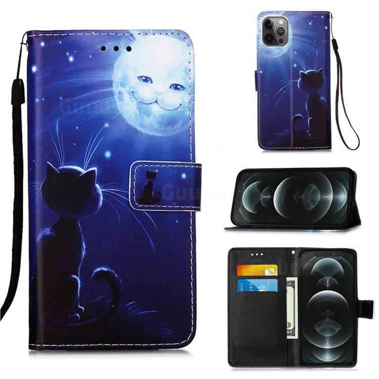 Cat and Moon Matte Leather Wallet Phone Case for iPhone 12 / 12 Pro (6.1 inch)