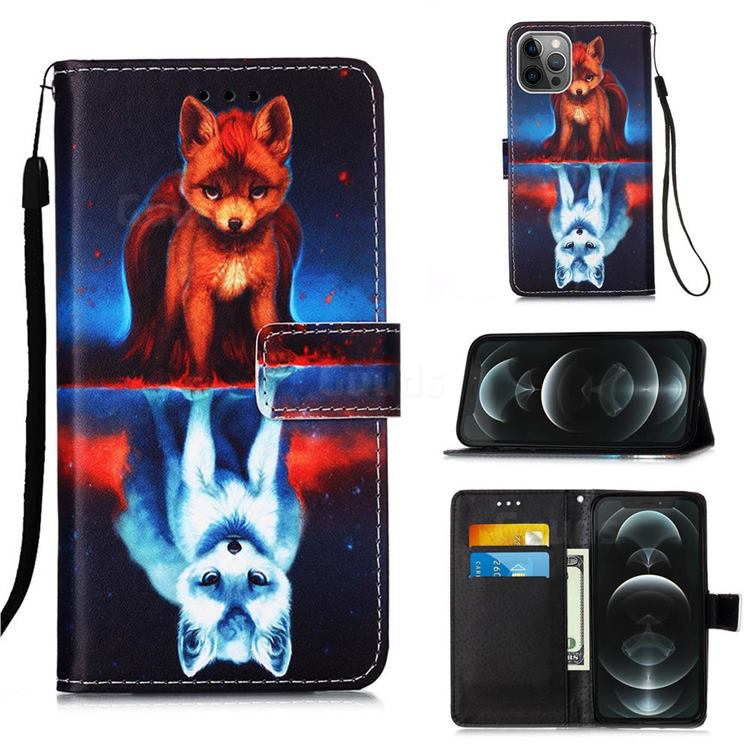 Water Fox Matte Leather Wallet Phone Case for iPhone 12 / 12 Pro (6.1 inch)