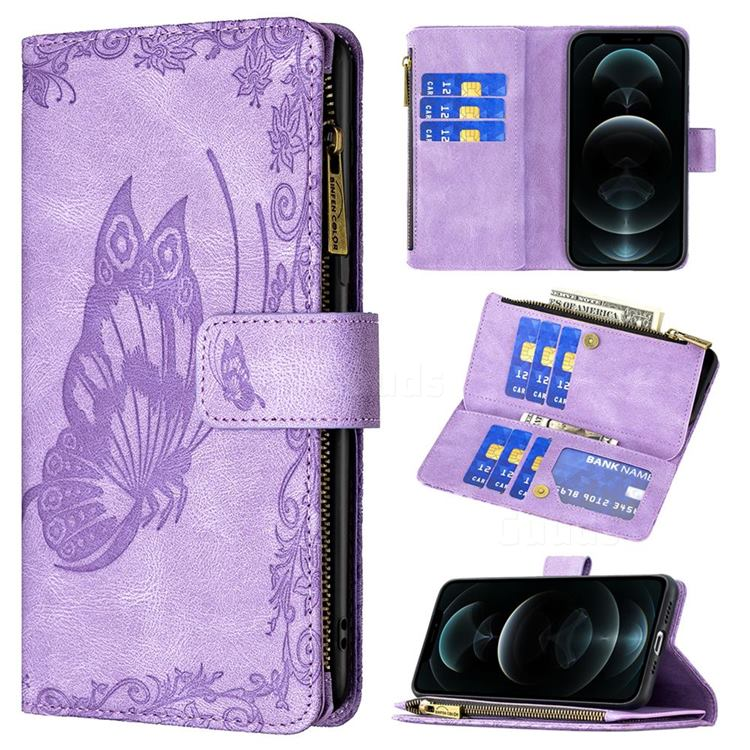 Binfen Color Imprint Vivid Butterfly Buckle Zipper Multi-function Leather Phone Wallet for iPhone 12 / 12 Pro (6.1 inch) - Purple