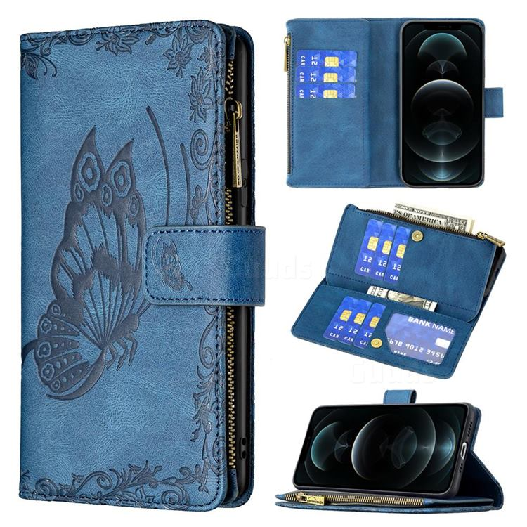 Binfen Color Imprint Vivid Butterfly Buckle Zipper Multi-function Leather Phone Wallet for iPhone 12 / 12 Pro (6.1 inch) - Blue