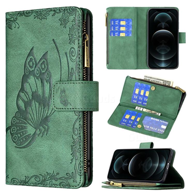 Binfen Color Imprint Vivid Butterfly Buckle Zipper Multi-function Leather Phone Wallet for iPhone 12 / 12 Pro (6.1 inch) - Green