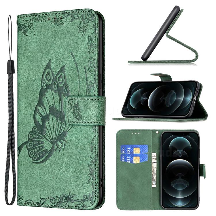 Binfen Color Imprint Vivid Butterfly Leather Wallet Case for iPhone 12 / 12 Pro (6.1 inch) - Green