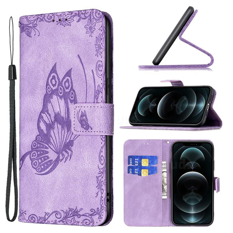Binfen Color Imprint Vivid Butterfly Leather Wallet Case for iPhone 12 / 12 Pro (6.1 inch) - Purple