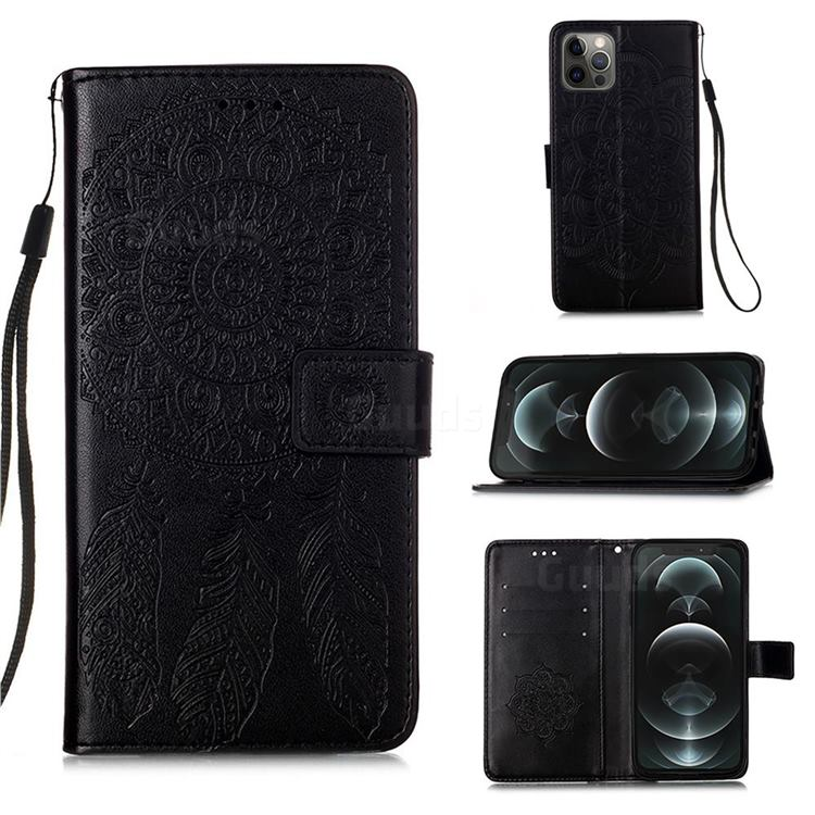 Embossing Dream Catcher Mandala Flower Leather Wallet Case for iPhone 12 / 12 Pro (6.1 inch) - Black