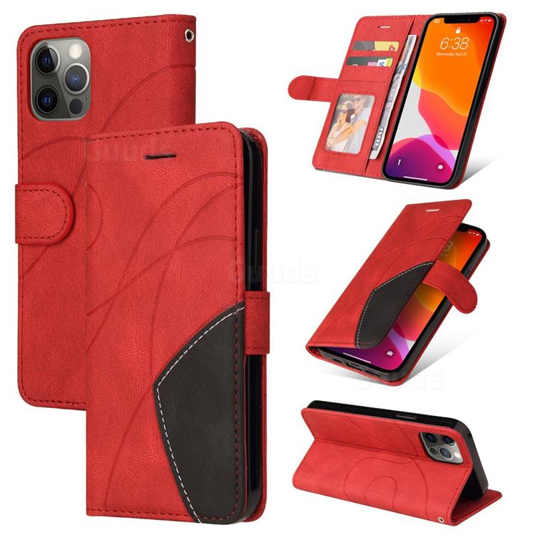 Luxury Two-color Stitching Leather Wallet Case Cover for iPhone 12 / 12 Pro (6.1 inch) - Red