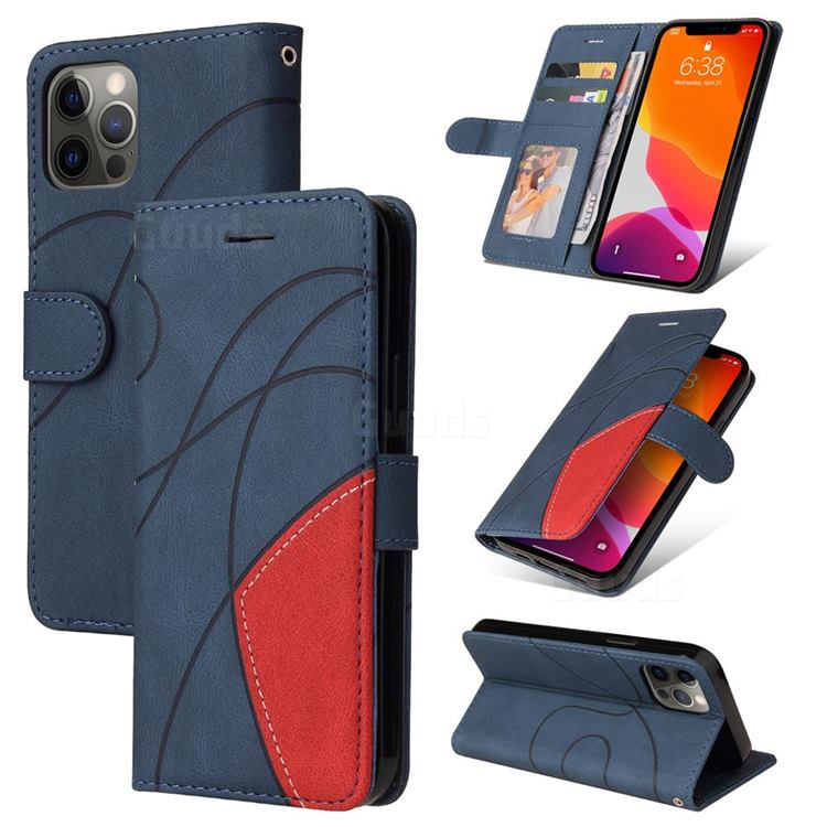 Luxury Two-color Stitching Leather Wallet Case Cover for iPhone 12 / 12 Pro (6.1 inch) - Blue