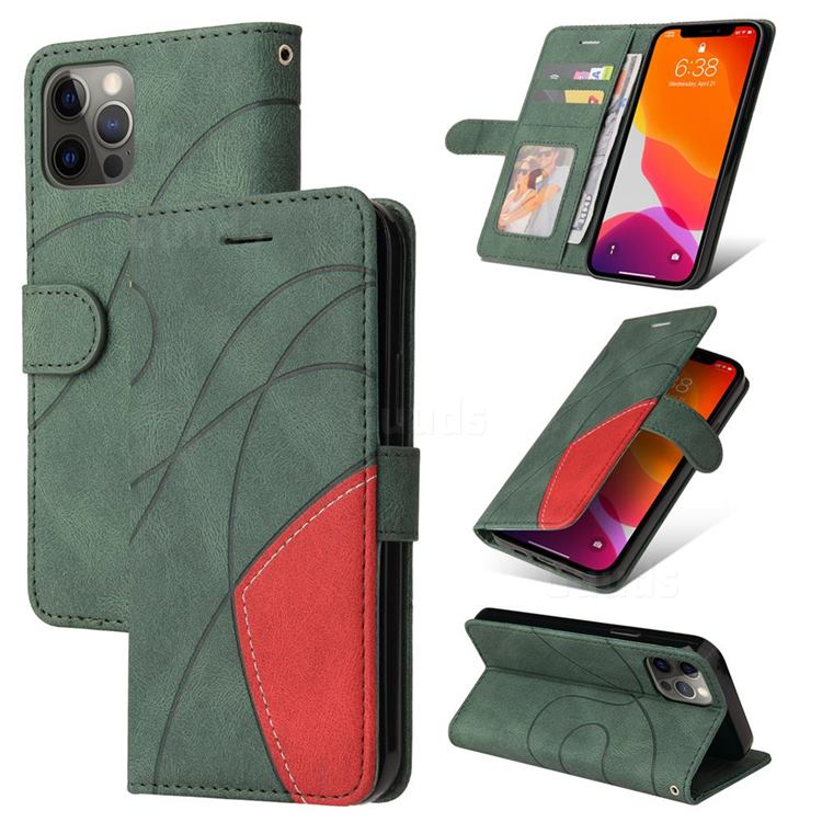 Luxury Two-color Stitching Leather Wallet Case Cover for iPhone 12 / 12 Pro (6.1 inch) - Green