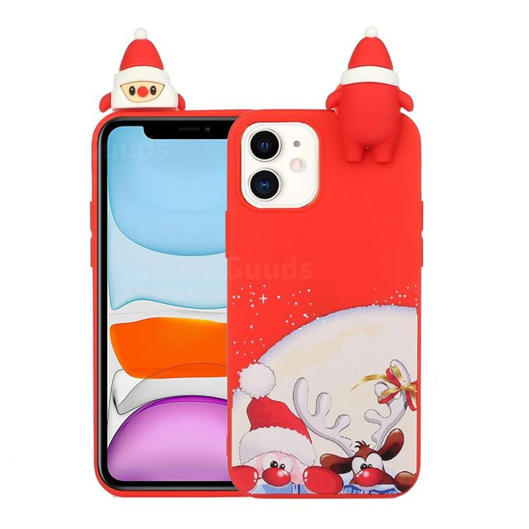 Santa Claus Elk Christmas Xmax Soft 3D Doll Silicone Case for iPhone 12 Pro Max (6.7 inch)