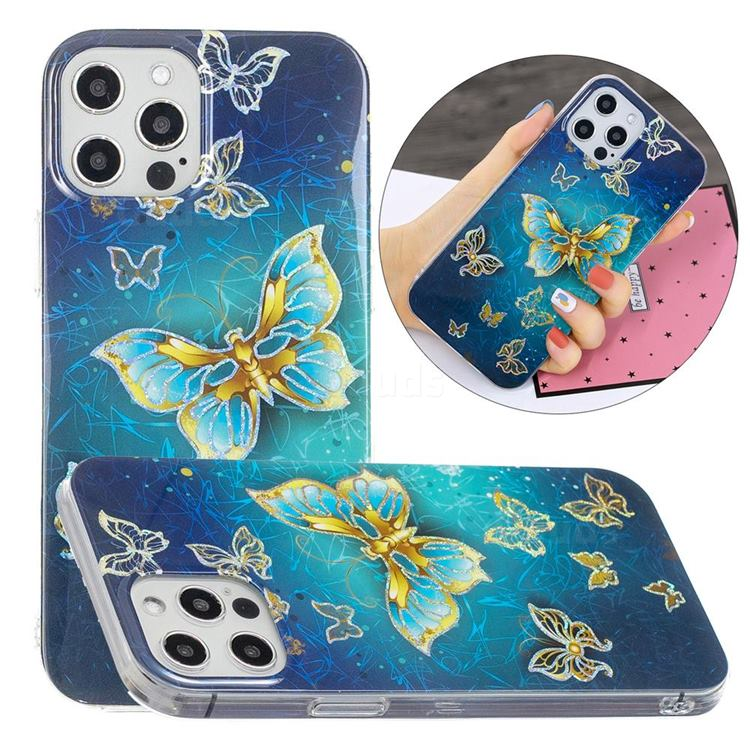 Golden Butterfly Painted Galvanized Electroplating Soft Phone Case Cover for iPhone 12 Pro Max (6.7 inch)