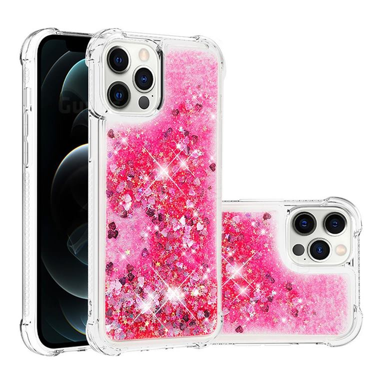 Dynamic Liquid Glitter Sand Quicksand TPU Case for iPhone 12 Pro Max (6.7 inch) - Pink Love Heart