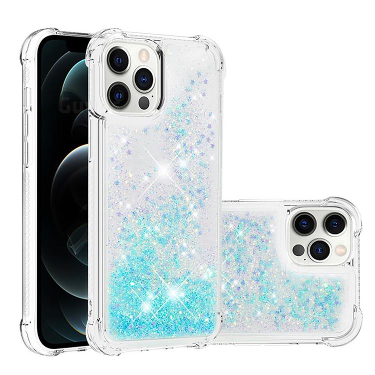 Dynamic Liquid Glitter Sand Quicksand TPU Case for iPhone 12 Pro Max (6.7 inch) - Silver Blue Star
