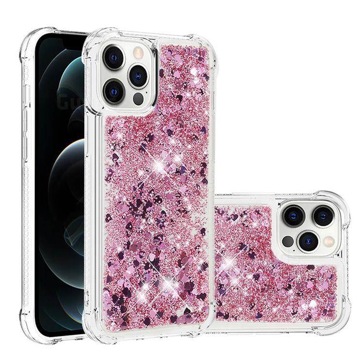 Dynamic Liquid Glitter Sand Quicksand Star TPU Case for iPhone 12 Pro Max (6.7 inch) - Diamond Rose