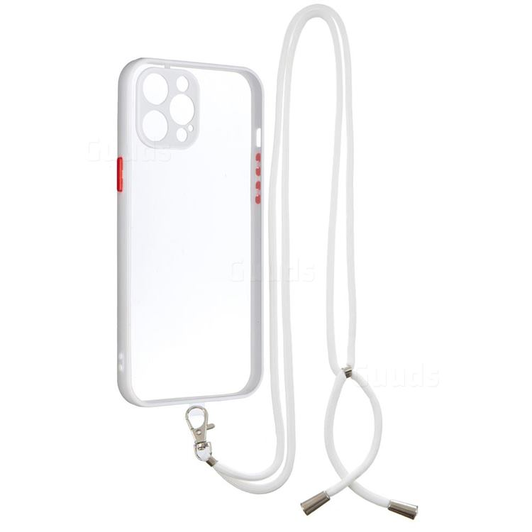 Necklace Cross-body Lanyard Strap Cord Phone Case Cover for iPhone 12 Pro Max (6.7 inch) - White