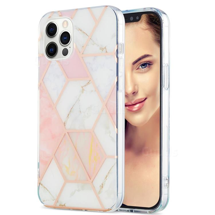 Pink White Marble Pattern Galvanized Electroplating Protective Case Cover for iPhone 12 Pro Max (6.7 inch)