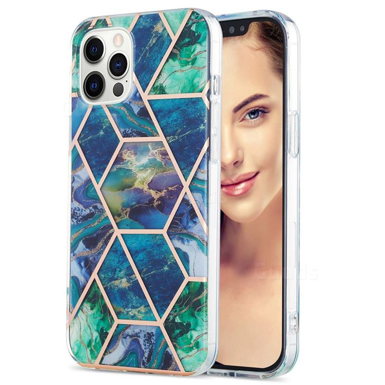 Blue Green Marble Pattern Galvanized Electroplating Protective Case Cover for iPhone 12 Pro Max (6.7 inch)