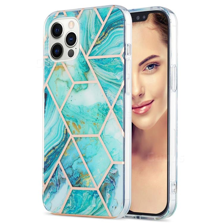 Blue Sea Marble Pattern Galvanized Electroplating Protective Case Cover for iPhone 12 Pro Max (6.7 inch)