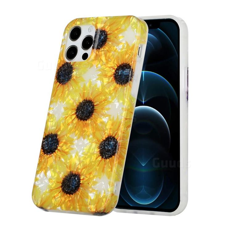Yellow Sunflowers Shell Pattern Glossy Rubber Silicone Protective Case Cover for iPhone 12 Pro Max (6.7 inch)