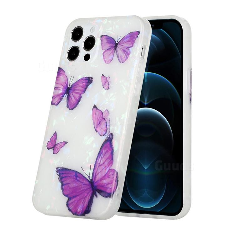 Purple Butterfly Shell Pattern Glossy Rubber Silicone Protective Case Cover for iPhone 12 Pro Max (6.7 inch)