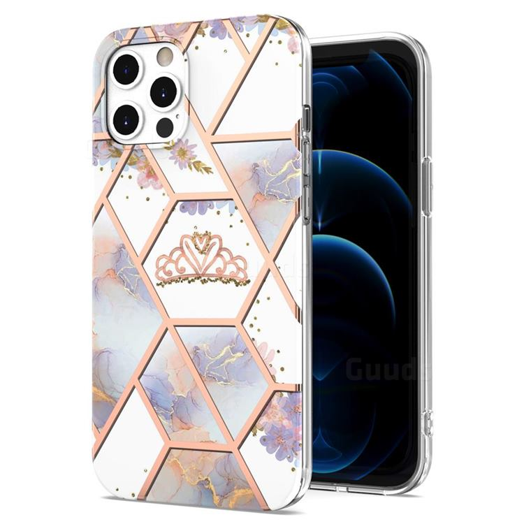 Crown Purple Flower Marble Electroplating Protective Case Cover for iPhone 12 Pro Max (6.7 inch)