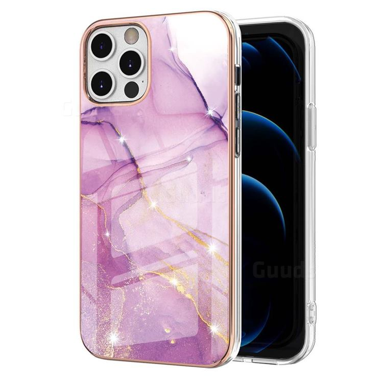Dream Violet Electroplated Gold Frame 2.0 Thickness Plating Marble IMD Soft Back Cover for iPhone 12 Pro Max (6.7 inch)