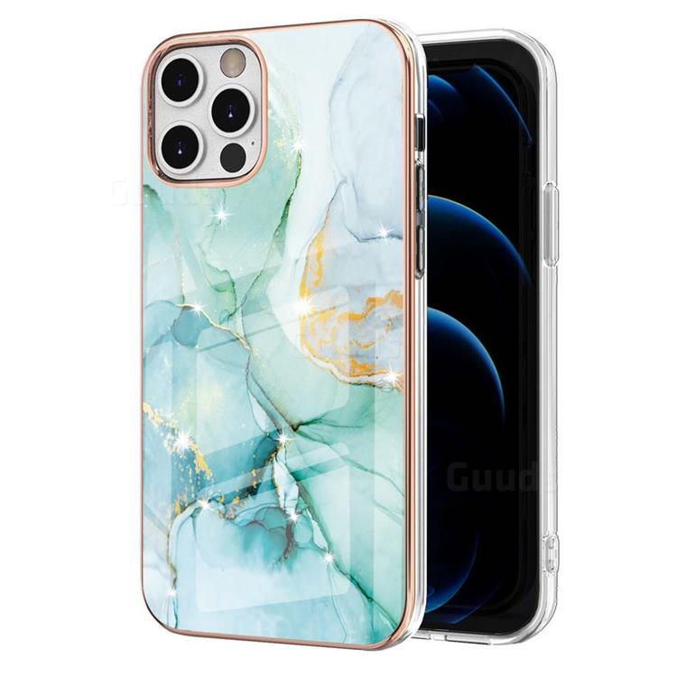 Green Silk Electroplated Gold Frame 2.0 Thickness Plating Marble IMD Soft Back Cover for iPhone 12 Pro Max (6.7 inch)