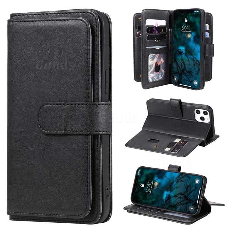 Multi-function Ten Card Slots and Photo Frame PU Leather Wallet Phone Case Cover for iPhone 12 Pro Max (6.7 inch) - Black