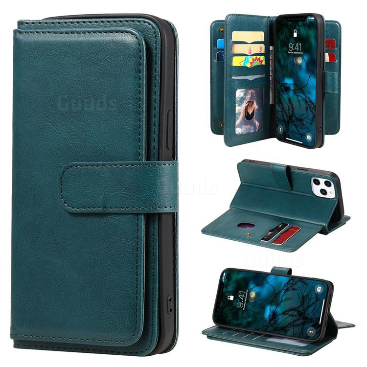 Multi-function Ten Card Slots and Photo Frame PU Leather Wallet Phone Case Cover for iPhone 12 Pro Max (6.7 inch) - Dark Green